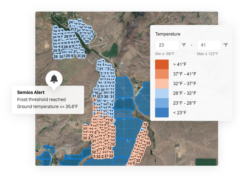 Per-acre temperature heatmap highlights cold spots at an orchard with a frost alert