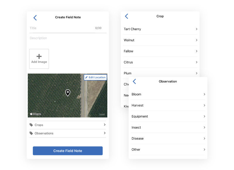 Process of creating a field note from a mobile device, where the location is automatically tagged using GPS, and you can log written notes, attach images, and tag observations to keep them organized