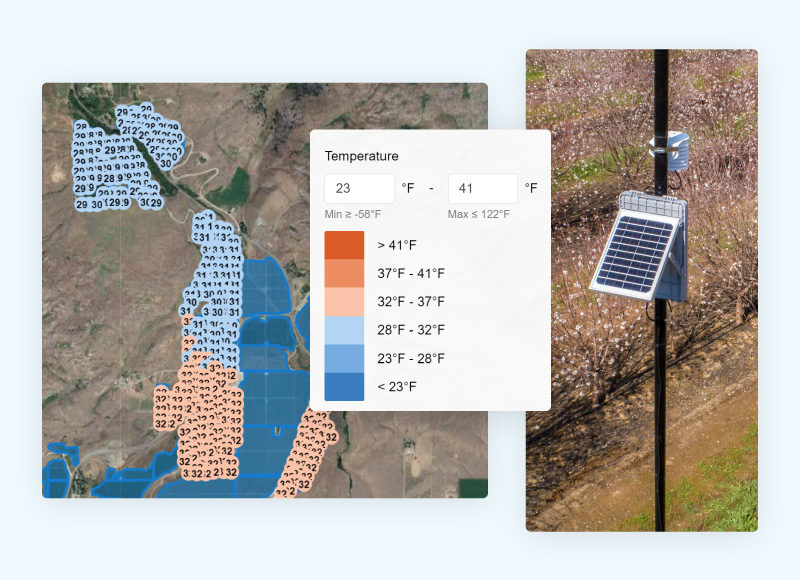 Per-acre temperature heatmap and a Semios weather station in the field