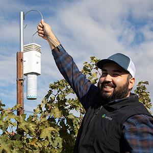 A Semios field technician doing an installation